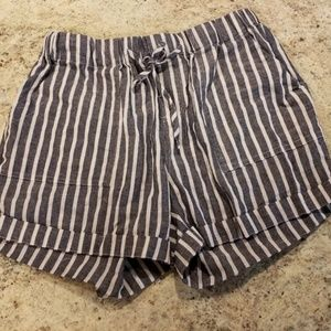 Pants - Navy and White Striped Shorts